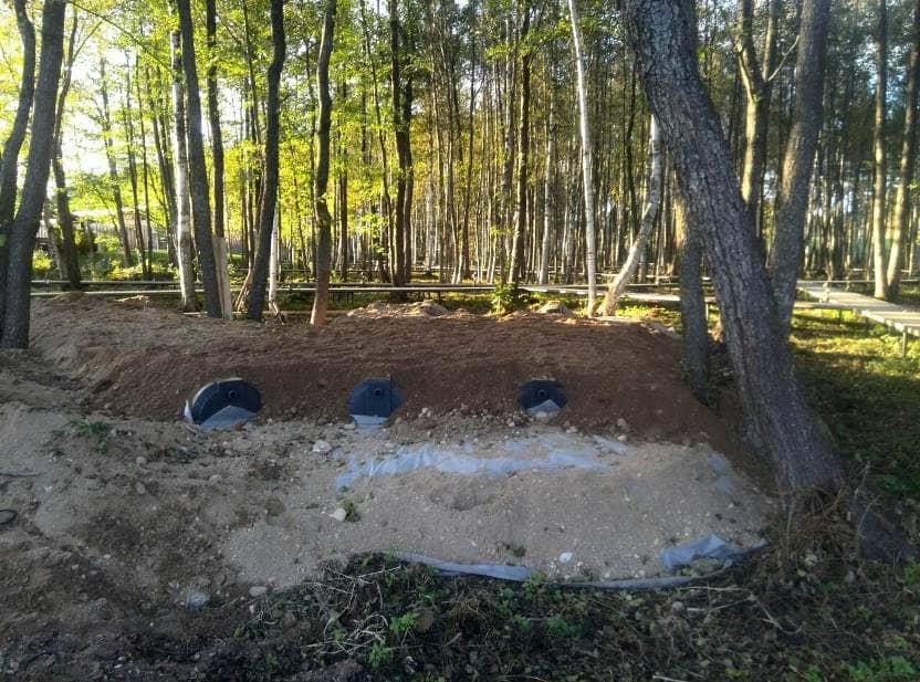 Накопительные ёмкости для канализации «Чистовод» - Фото установки и монтажа - Окончательная обсыпка