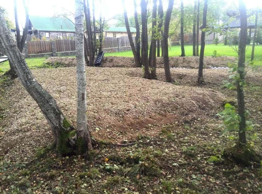 Накопительные ёмкости для канализации «Чистовод» - Фото установки и монтажа - Подготовка гравийного основания рассеивающей насыпи